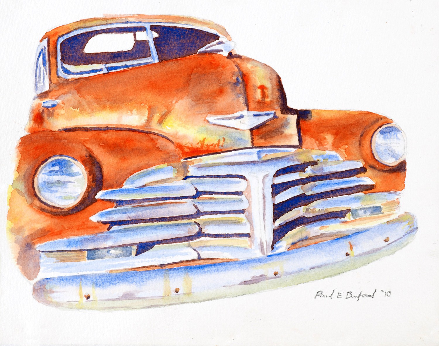 Hot Rod Art, car art, watercolor painting, rat rod