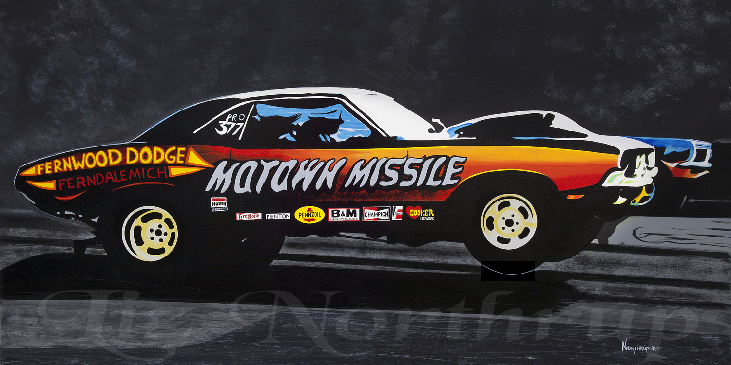 drag race art, hot rod art, motown missle challenger