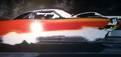 Hot rod art, drag race art, motown missle challenger