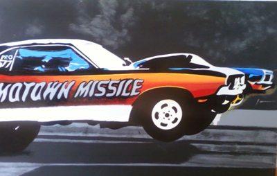 challenger race car, mowtown missle dogdge challenger, drag race art