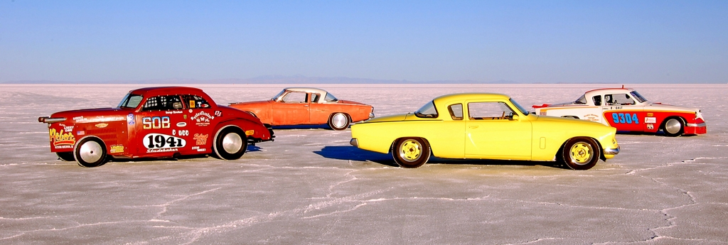 Salt Flat Studebaker Coupes, multiple studebakers, vintage cars
