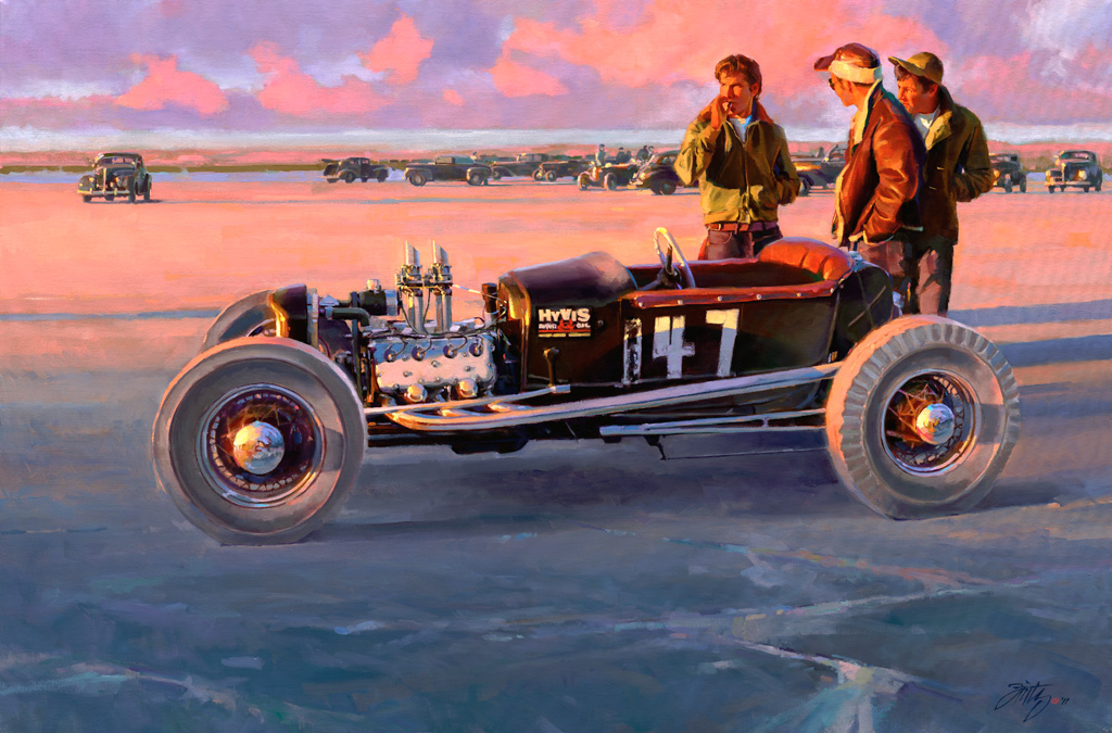hot rod art, vintage hot rod art, hot rod paintings