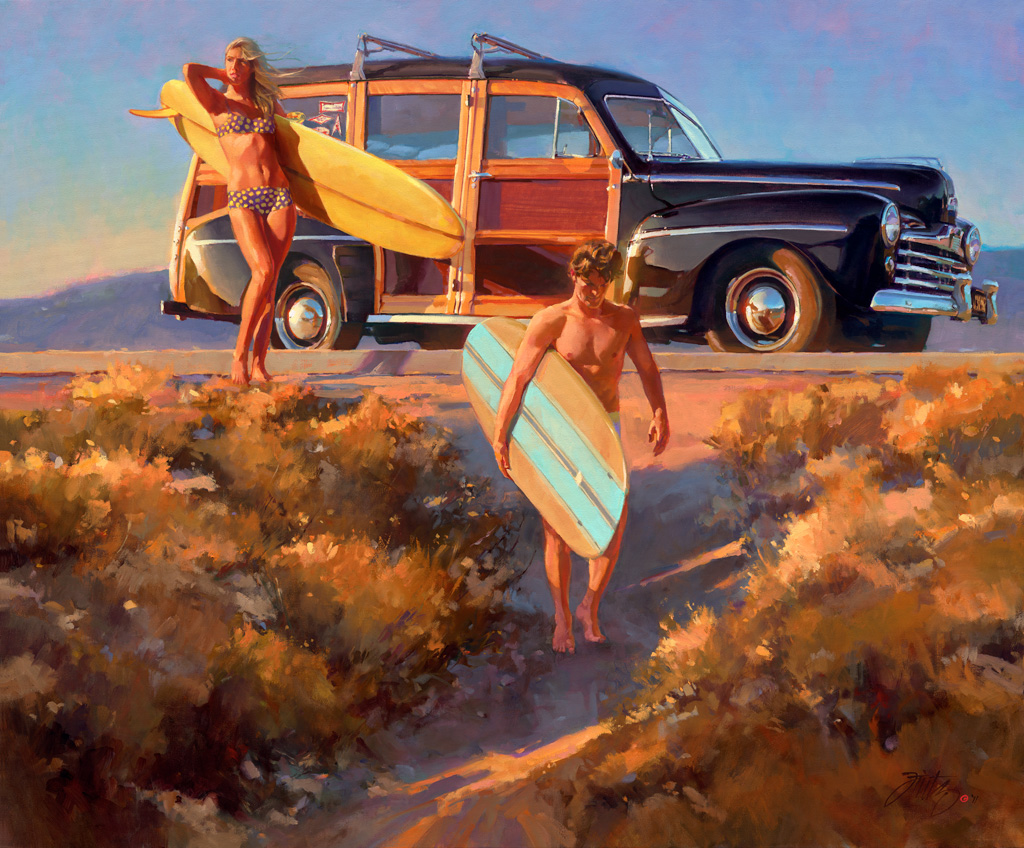 hot rod art, hot rod paintings, tom fritz