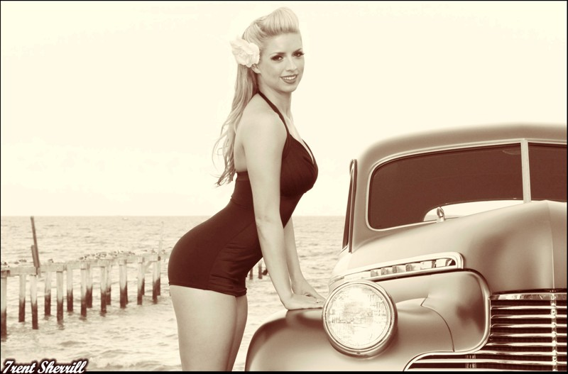 40 Chevy with Pinup, Pinup Chevy Photos, hot rod pinups