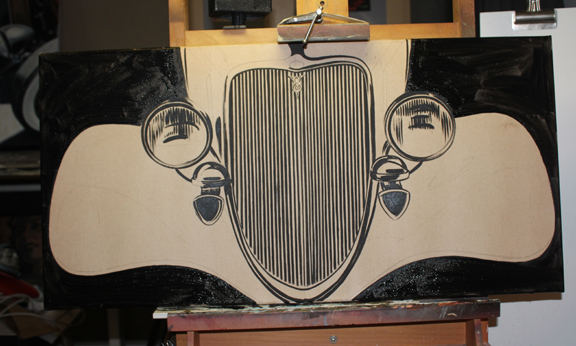 drawing cars, painting cars, hot rod art