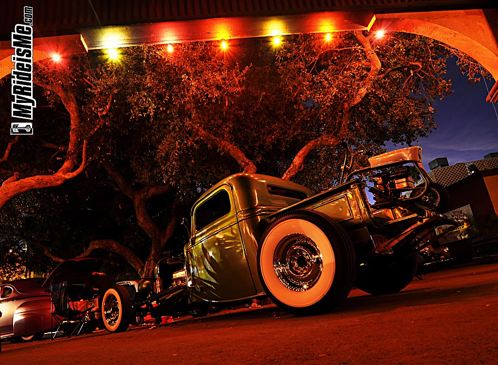 hot rod, hot rod pickup, night photography