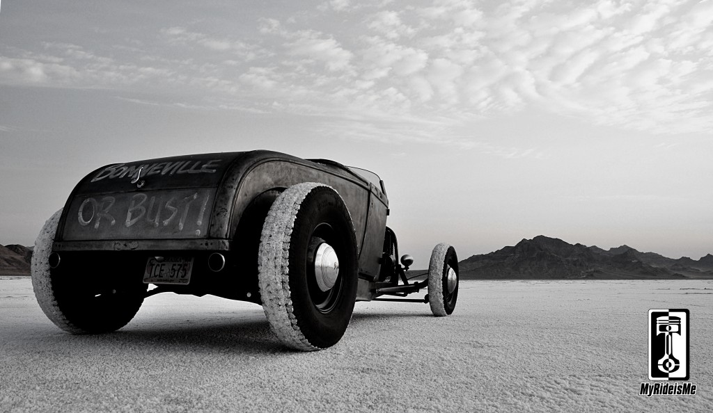 hot rod photography, bonneville salt flats, model a roadster