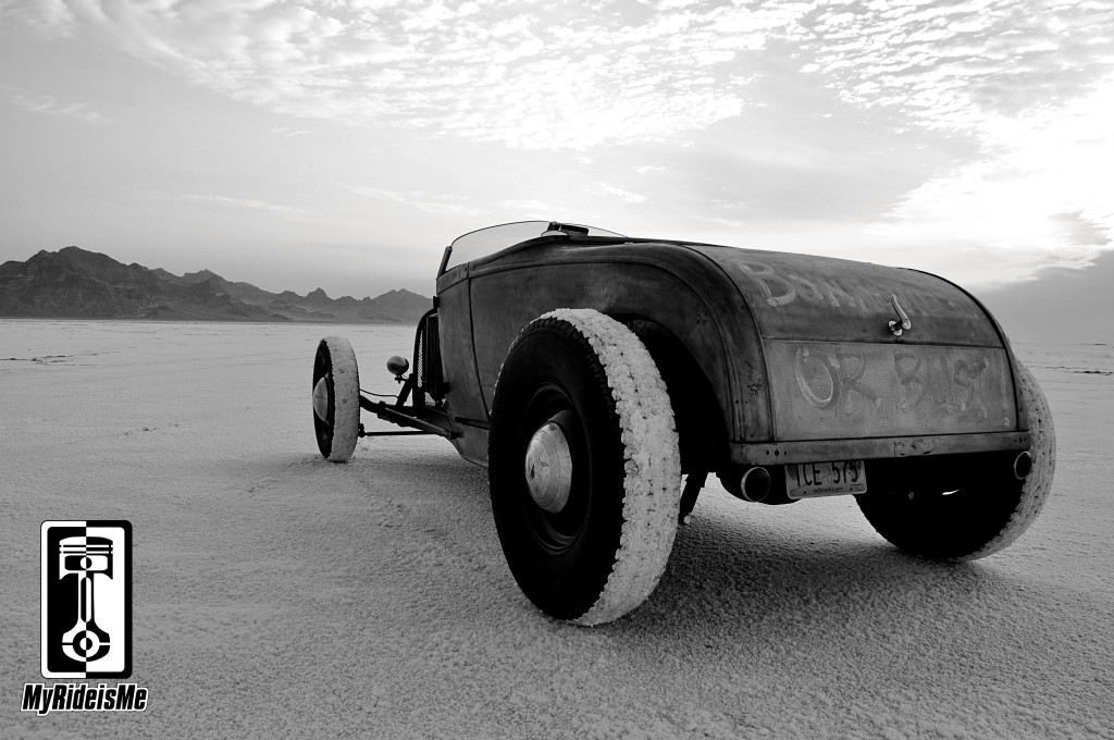 vintage style hot rod, bonneville salt flats, model a hot rod
