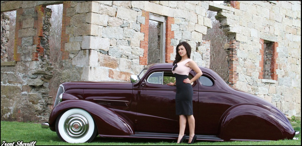 hot rod pinup, girls on hot rods,1937 Chevy coupe