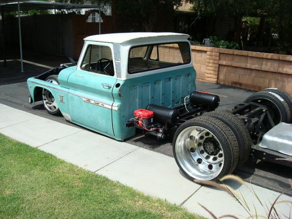 Custom 1964 Chevy C10, c10 dually, semi wheels