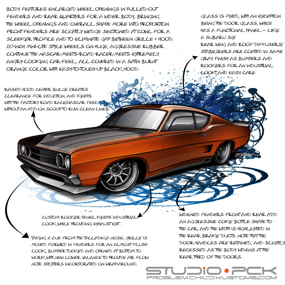 car design, car drawing, 1969 torino talladega, torino talladega drawing