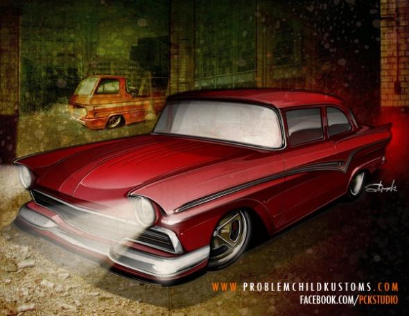 hot rod art, ford thunderbird, road racing