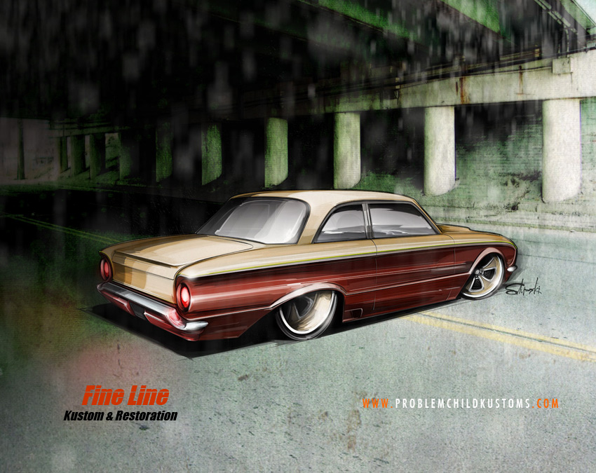 hot rod art, custom ford falcon