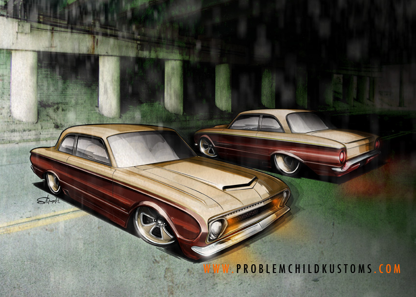 Hot rod art, ford falcon, custom 60s falcon