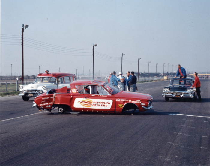 wrecked drag car, mongoose wreck, damaged drag Barracuda, 1965 Lions raceway