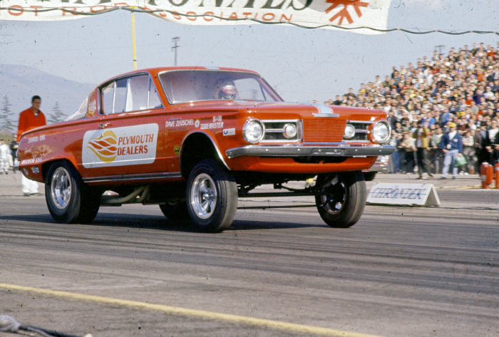 60's drag car, Mongoose racing, red 1965 barracuda