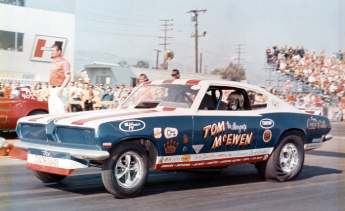 1969 Barracuda, late 60's drag car, driver Mongoose