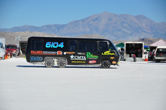 Land speed racing RV, Custom RV, 2013 Bonneville Salt Flats