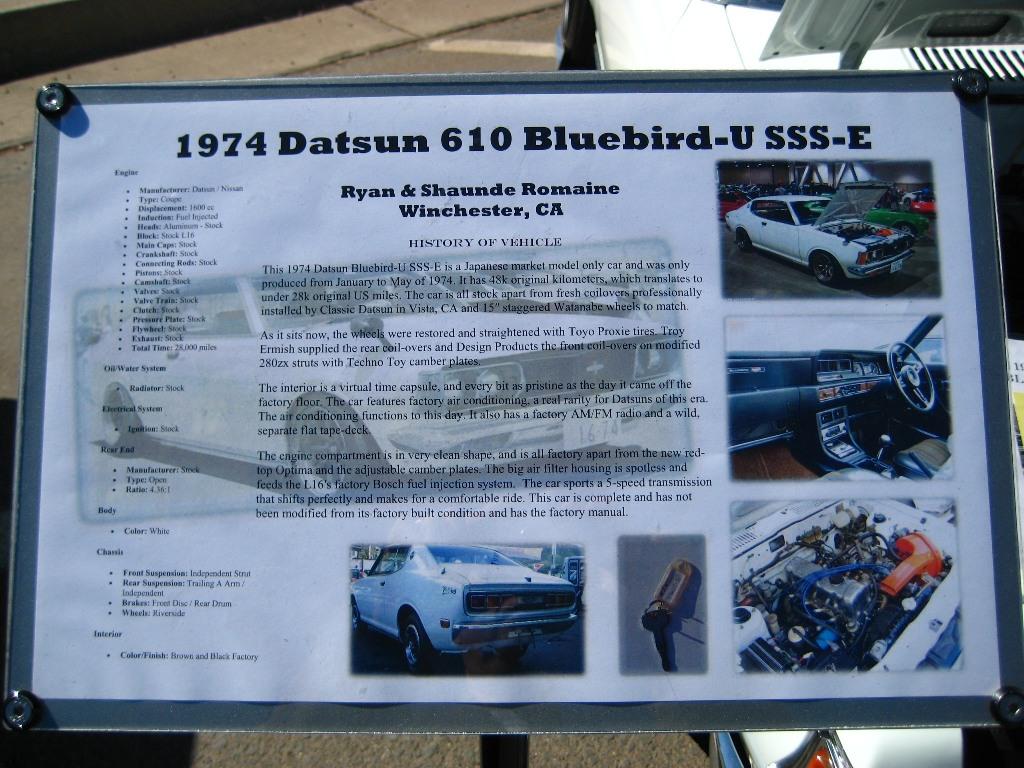 classic datsun car show, 1974 Datsun Bluebird-U SSS-E, japanese classic car show