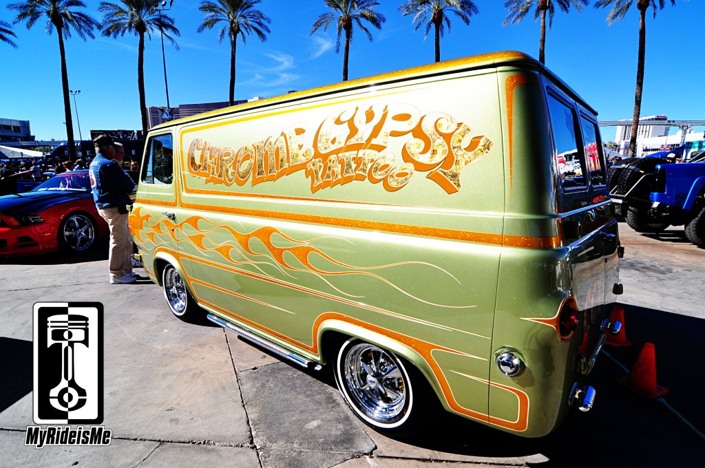 Custom ford Econoline Van, 2013 SEMA Show, metal flake paint,custom car pic
