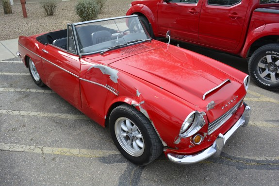 1967 Datsun Roadster, Roadster Roadtrip, hit a deer