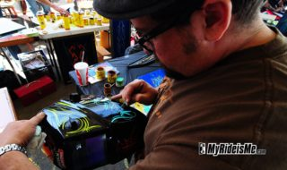 Pinstriping Circus Goes Nuts on a Welding Helmet #2