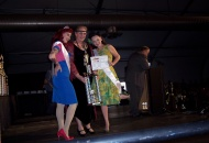 Karen in her 20's Flapper dress receiving the 1st place trophy.