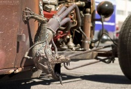 Rat Rod with Fire-Breathing Dragon Exhaust Header.