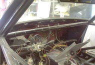 Completely gutted interior with instruments mounted onto the steering column.