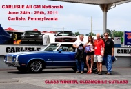 Awarded best of Cutlass Class and Best Oldsmobile GM Nationals 2011