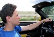 Cruisin' on US/NM Route 66 in his '03, Speed Yellow, Porsche Boxster.