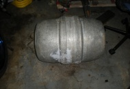 "My DOT approved ""safety first"" gas tank. Maier brewing keg from a former Los Angeles brewery."